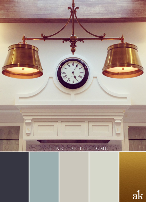 a kitchen-inspired color palette // gray, blue, white, brass