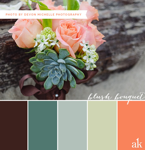 a wedding-bouquet-inspired color palette // deep brown, blue, mint, peach
