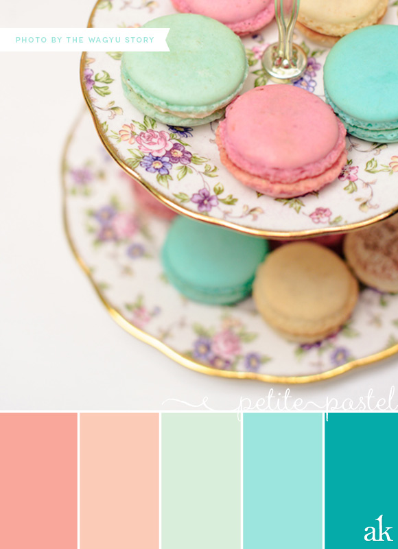 a pastel-macaron-inspired color palette // coral, pink, mint, aqua // photo by The Wagyu Story