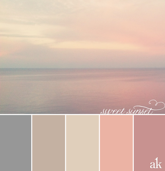 a sunset-inspired color palette // gray, taupe, pink