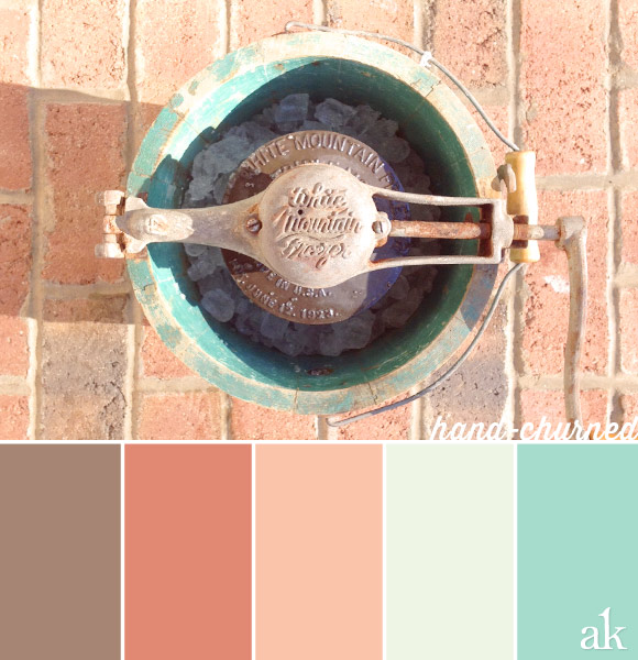 an ice-cream-churner-inspired color palette // brown, peach, mint, aqua