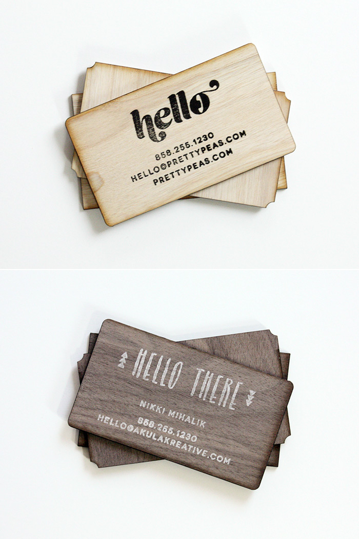 DIY Stamped Wood Business Cards