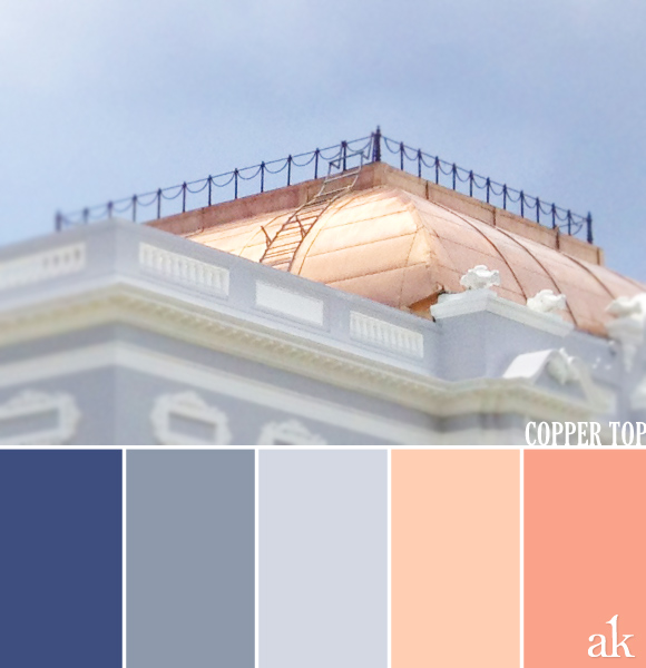 a roof-inspired color palette // indigo, gray-blue, peach, rose copper