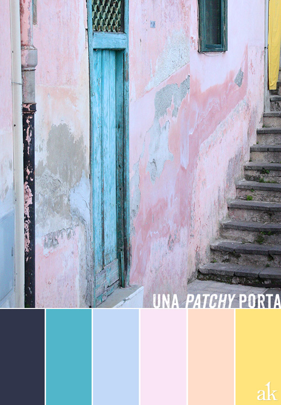 a door-inspired color palette // navy, teal, light blue, pink, peach, yellow // Amalfi, Italy by Akula Kreative