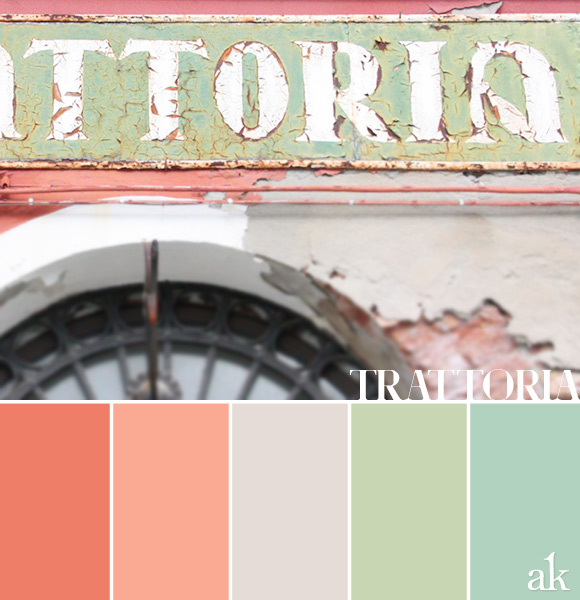 a trattoria-inspired color palette // pastels, coral, gray, mint, aqua