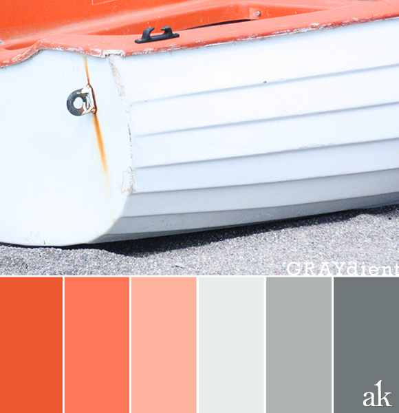 a boat-inspired color palette // tangerine (orange), gray // Amalfi, Italy