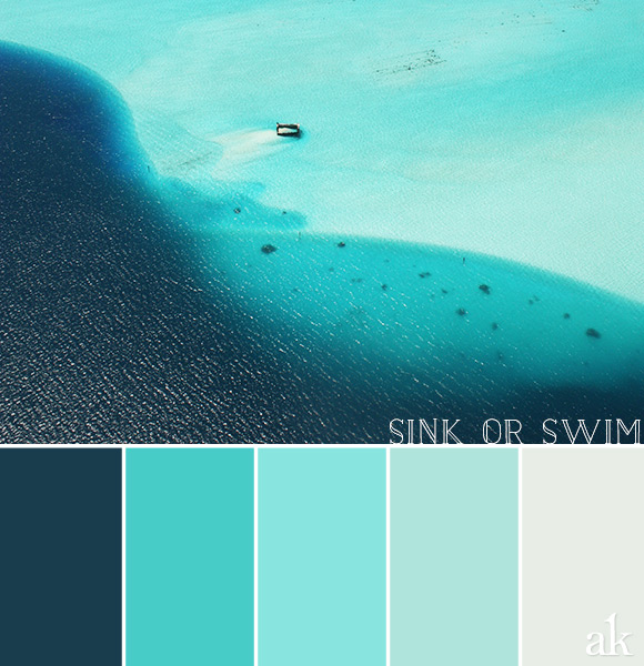 a lagoon-inspired color palette // navy, aqua, blues // Bora Bora