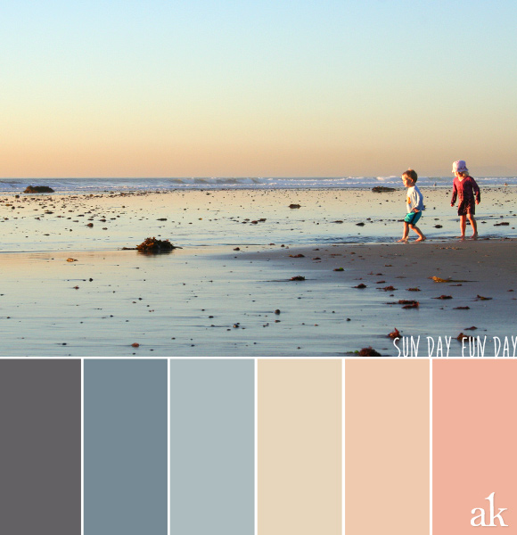 a beach-sunset-inspired color palette // gray, blue, peach, sand