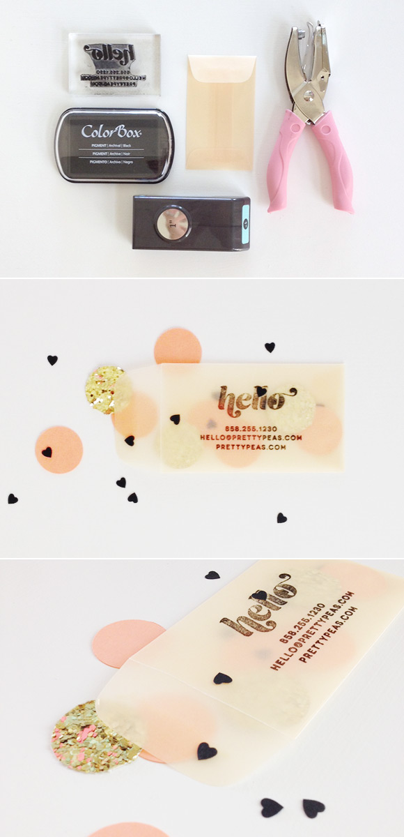 DIY stamped business cards | confetti-filled coin envelope — Akula ...