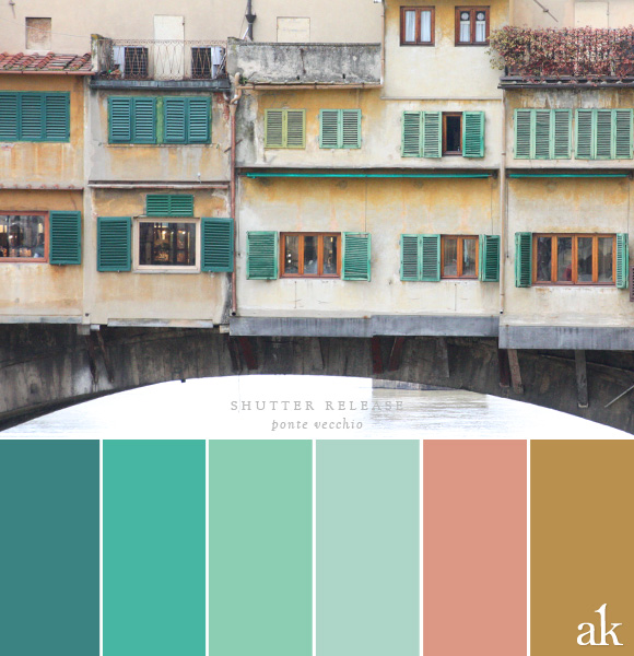 a shutter-inspired color palette // green, terracotta, gold // Ponte Vecchio in Florence, Italy