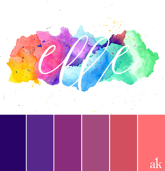 a watercolor-giveaway-inspired color palette // indigo, purple, pink, salmon #ombre