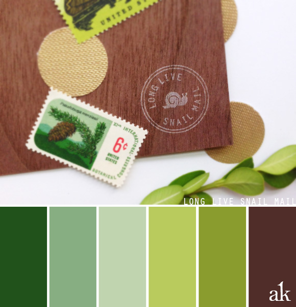 a snail-mail-inspired color palette // green (pine, laurel, sage, citrus, moss), brown // woodland