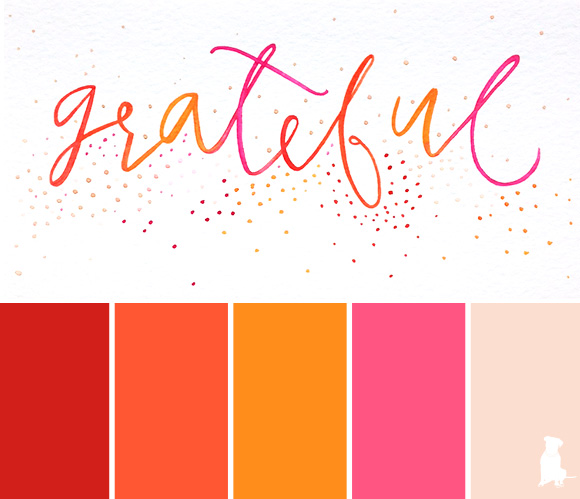 a watercolor-inspired color palette // red, tangerine, orange, pink, nude