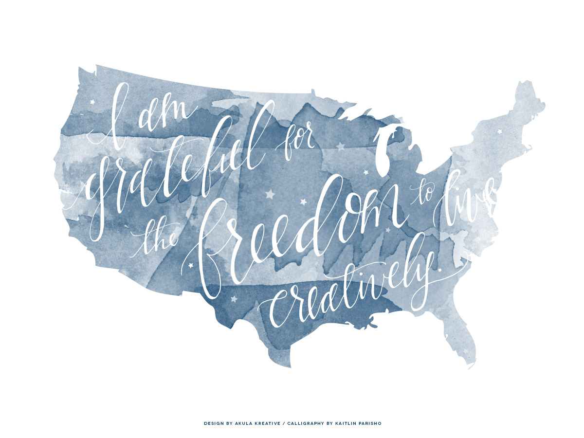 Happy July 4th from Akula Kreative // Calligraphy by Kaitlin Parisho #watercolor #usa