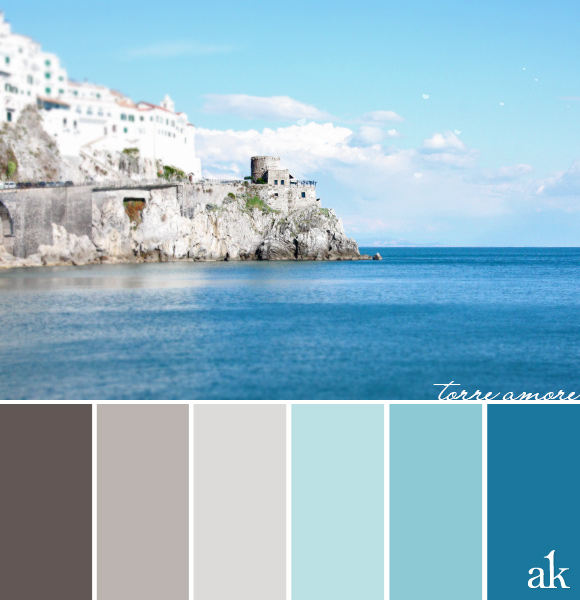 a tower-inspired color palette // warm gray, sky blue, cerulean // #Amalfi