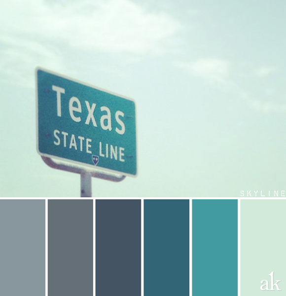 a state-sign-inspired color palette // gray, chalkboard, dark teal, teal, mint