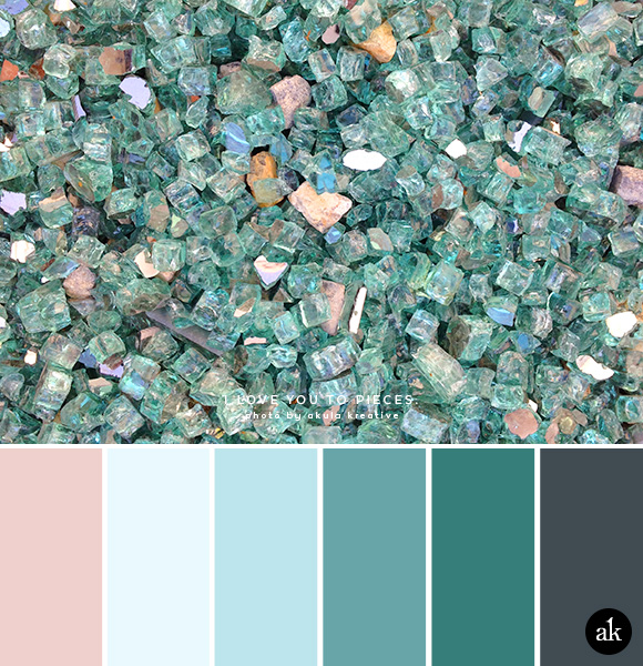 a glass-inspired color palette // blush pink, greenish-blue, gray
