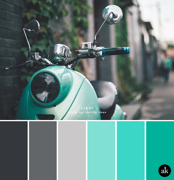a scooter-inspired color palette // gray, aqua, teal