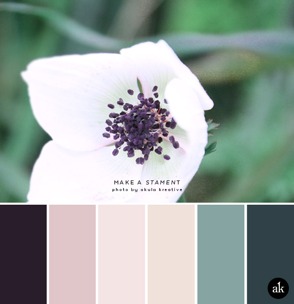 a stamen-inspired color palette // aubergine, blush, nude, eucalyptus, ming blue