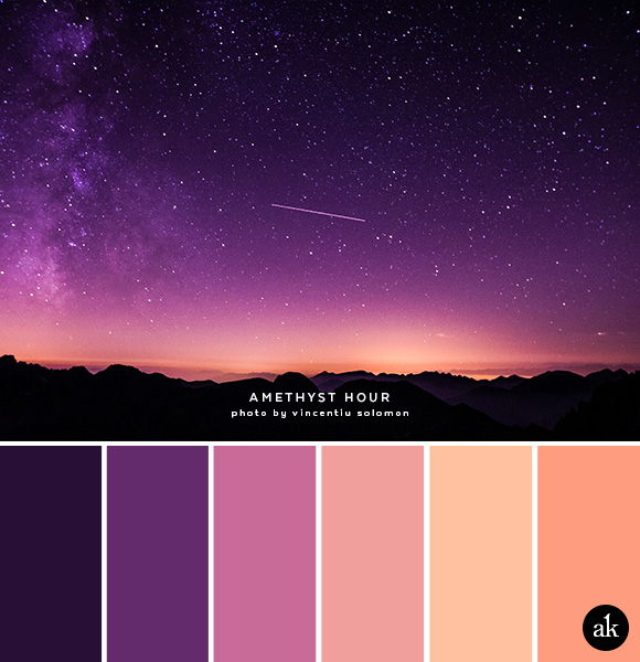 a night-sky-inspired color palette // dark purple, amethyst, peach, orange