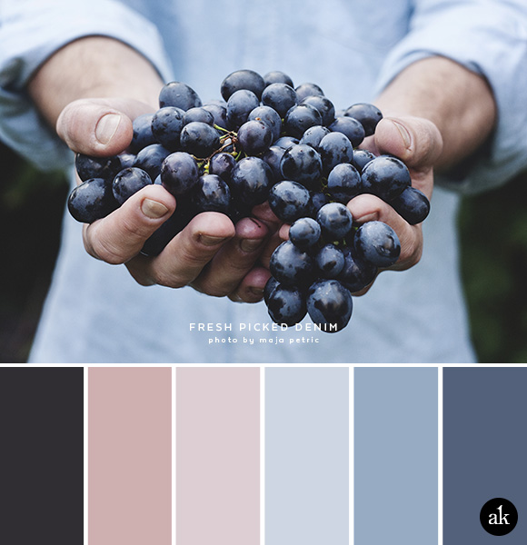 a denim-inspired color palette // faded black, pink, denim blue