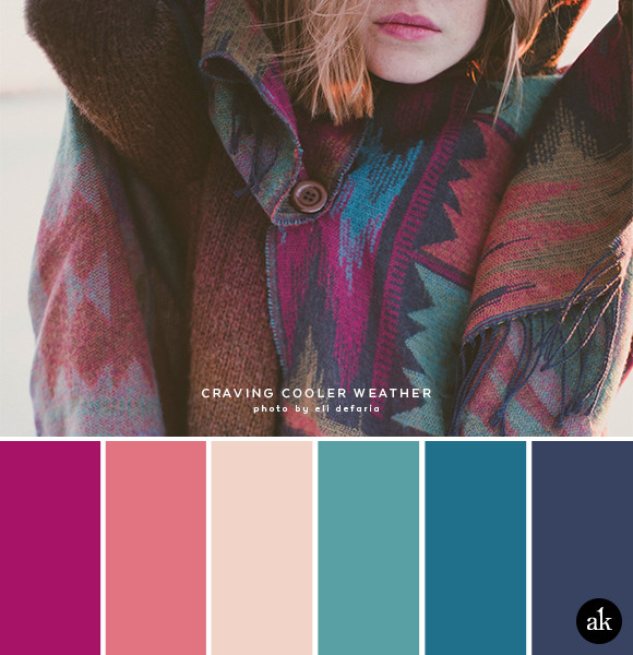 a sweater-inspired color palette | cranberry, pink, nude, teal, indigo, faded navy