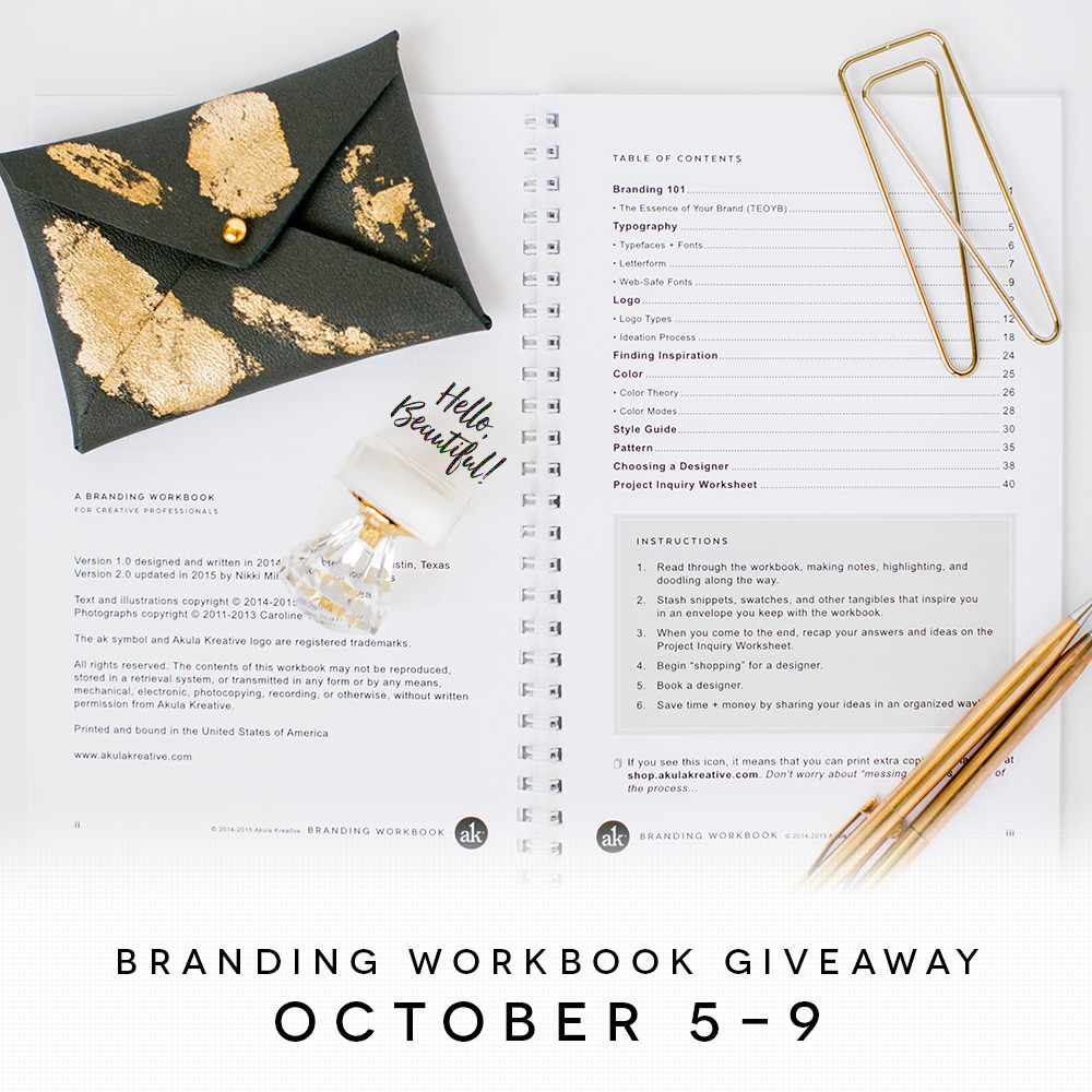Branding Workbook for Creative Professionals | GIVEAWAY October 5-9, 2015