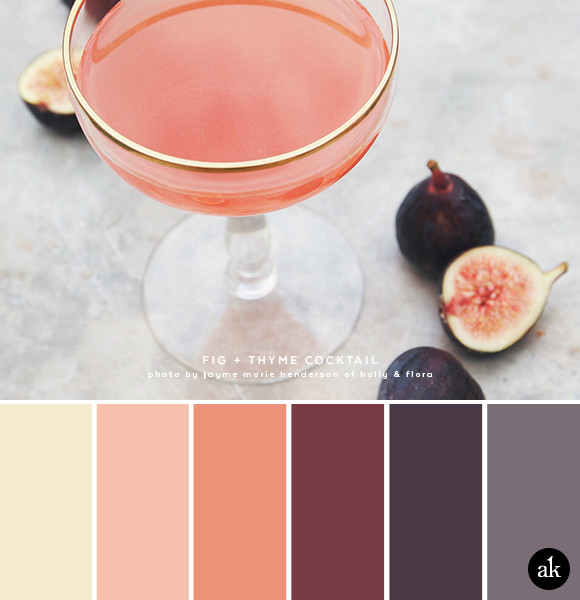 a fig-cocktail-inspired color palette // cream, gold, coral, fig
