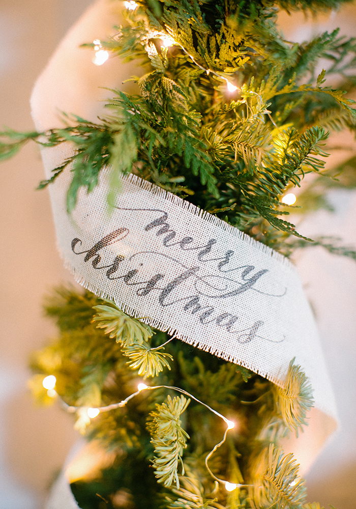 Merry Christmas / Calligraphy Stamped Ribbon on Garland / Akula Kreative