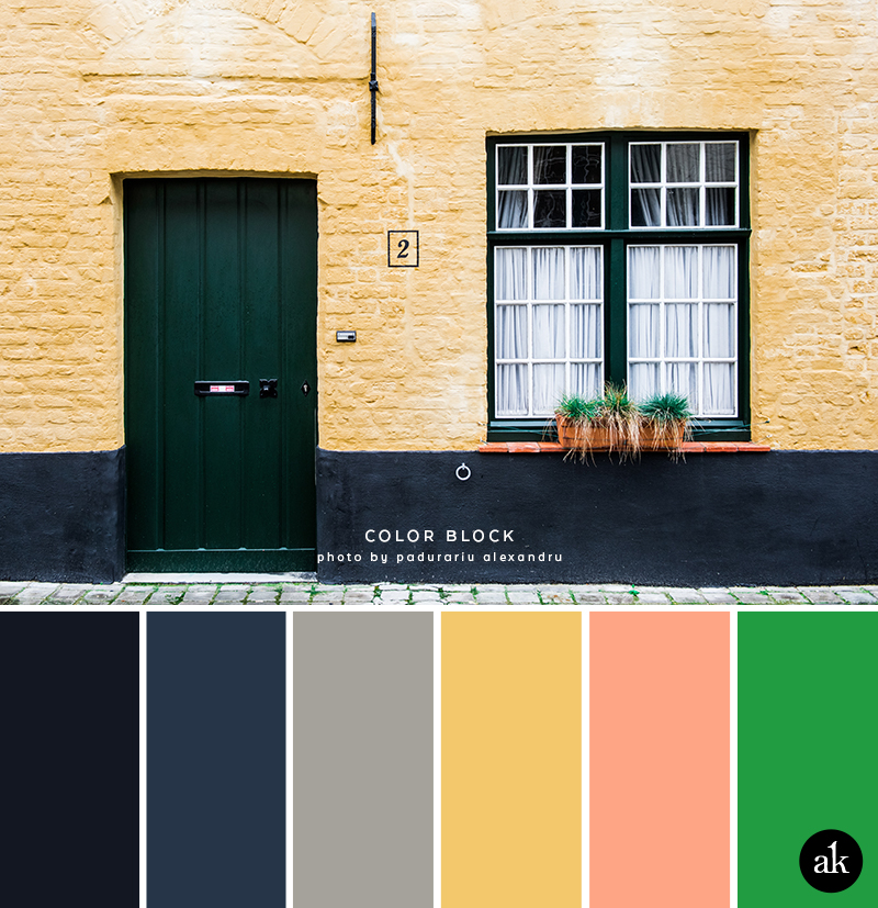a city-home-inspired color palette // midnight blue, navy, gray, yellow, peach, green