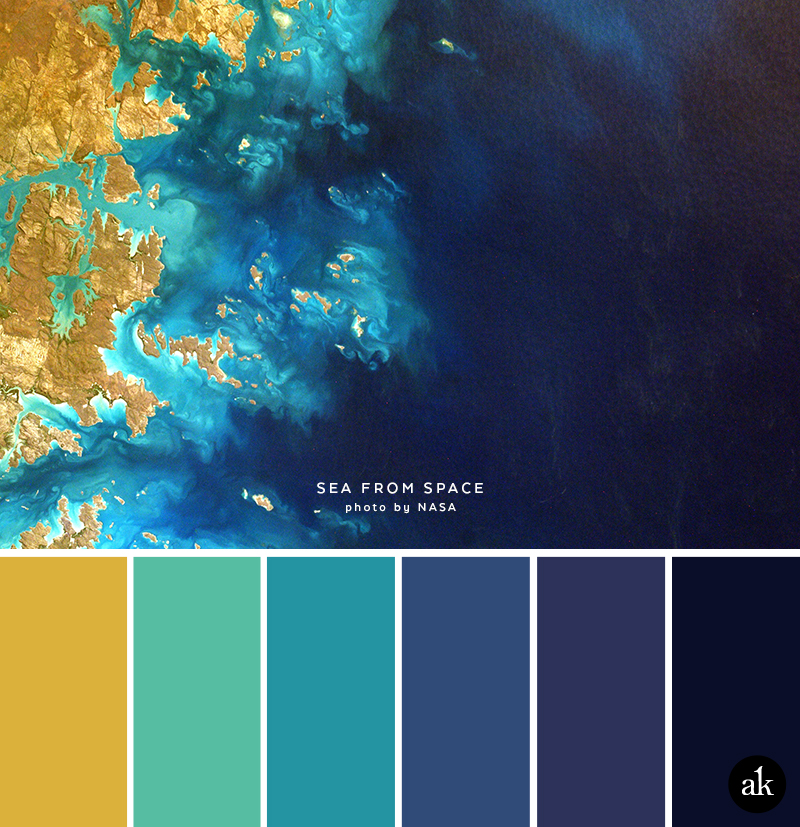 A Sea And Space Inspired Color Palette Yellow Gold