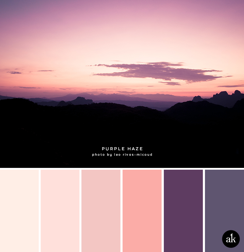 a mountain-sunset-inspired color palette // peach, pink, purple