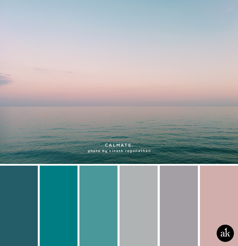 an ocean-sunset-inspired color palette // turquoise, gray, pale pink