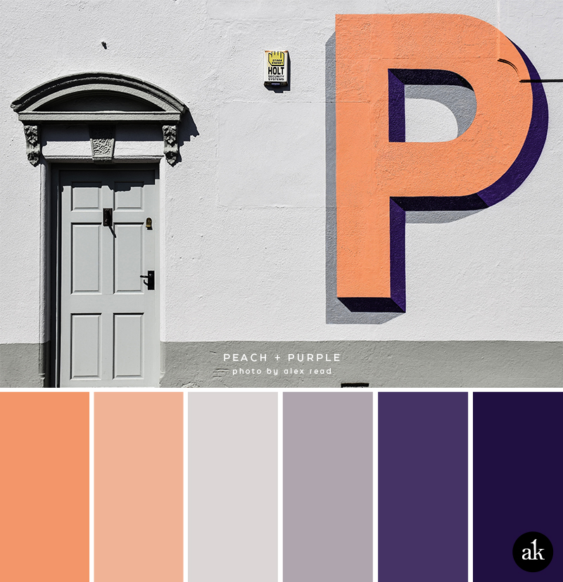 a mural-inspired color palette / peach, gray, purple