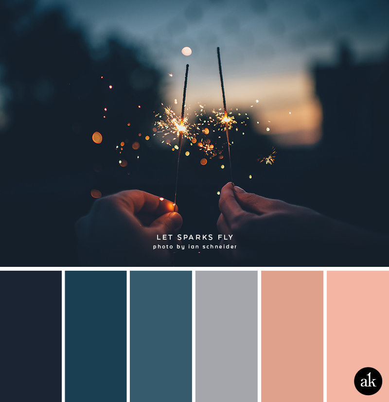 a sparkler-inspired color palette // blue, indigo, gray, peach