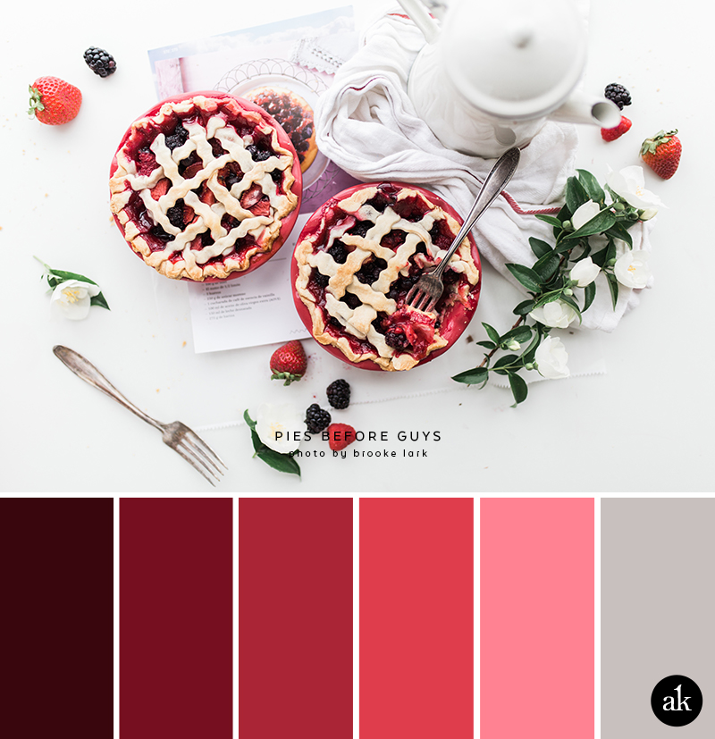 a berry-pie-inspired color palette // blackberry, boysenberry, raspberry, strawberry, pink, gray