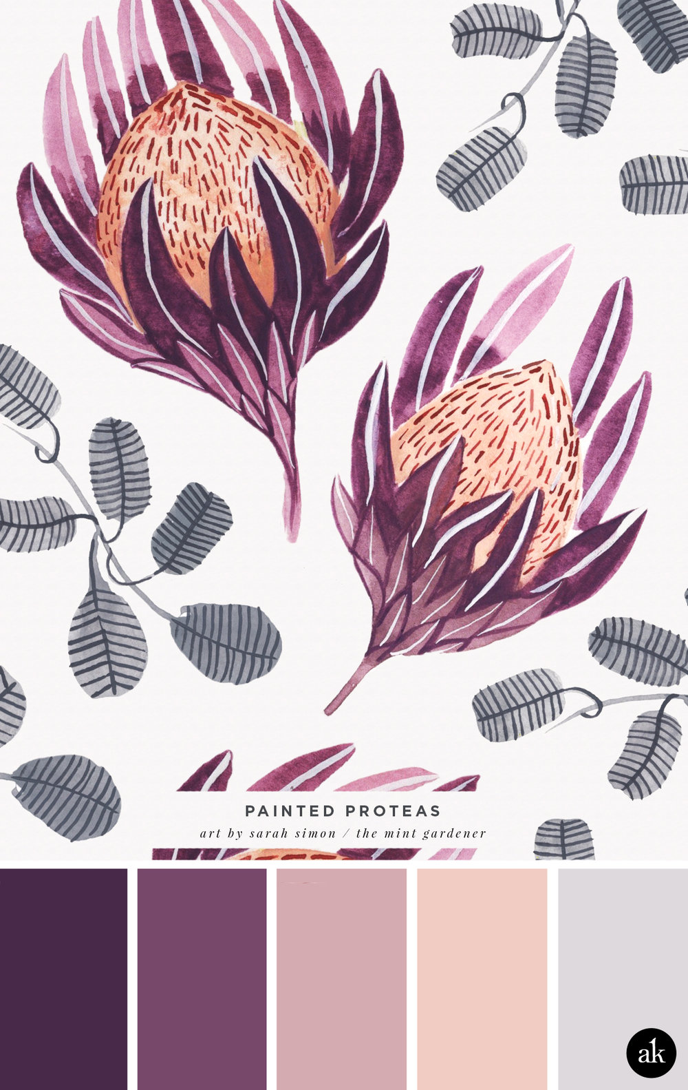 -inspired color palette | purple, peach, gray | art by Sarah Simon / The Mint Gardener