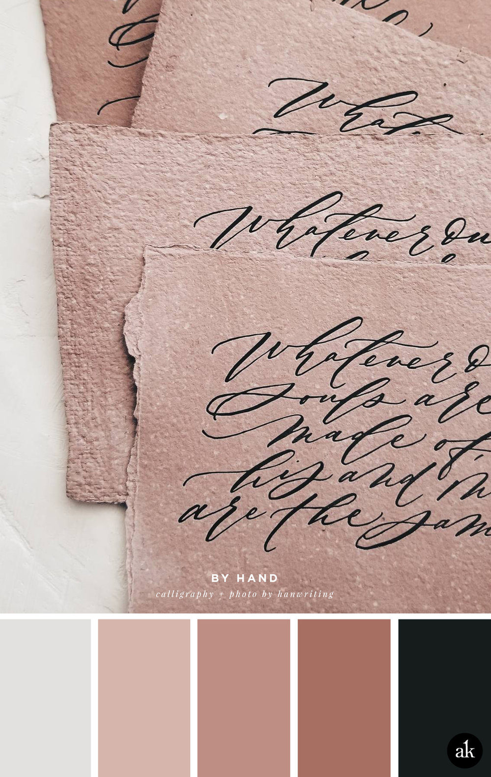 a calligraphy-inspired color palette // black, rose, gray // calligraphy + photo by hanwriting