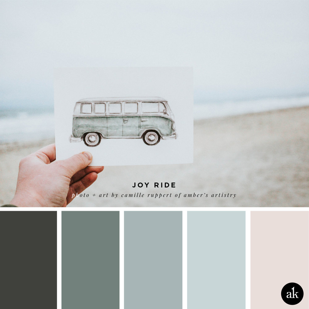 a VW-inspired color palette // blue gray, coastal blue, rose gray // art + photo by amber's artistry