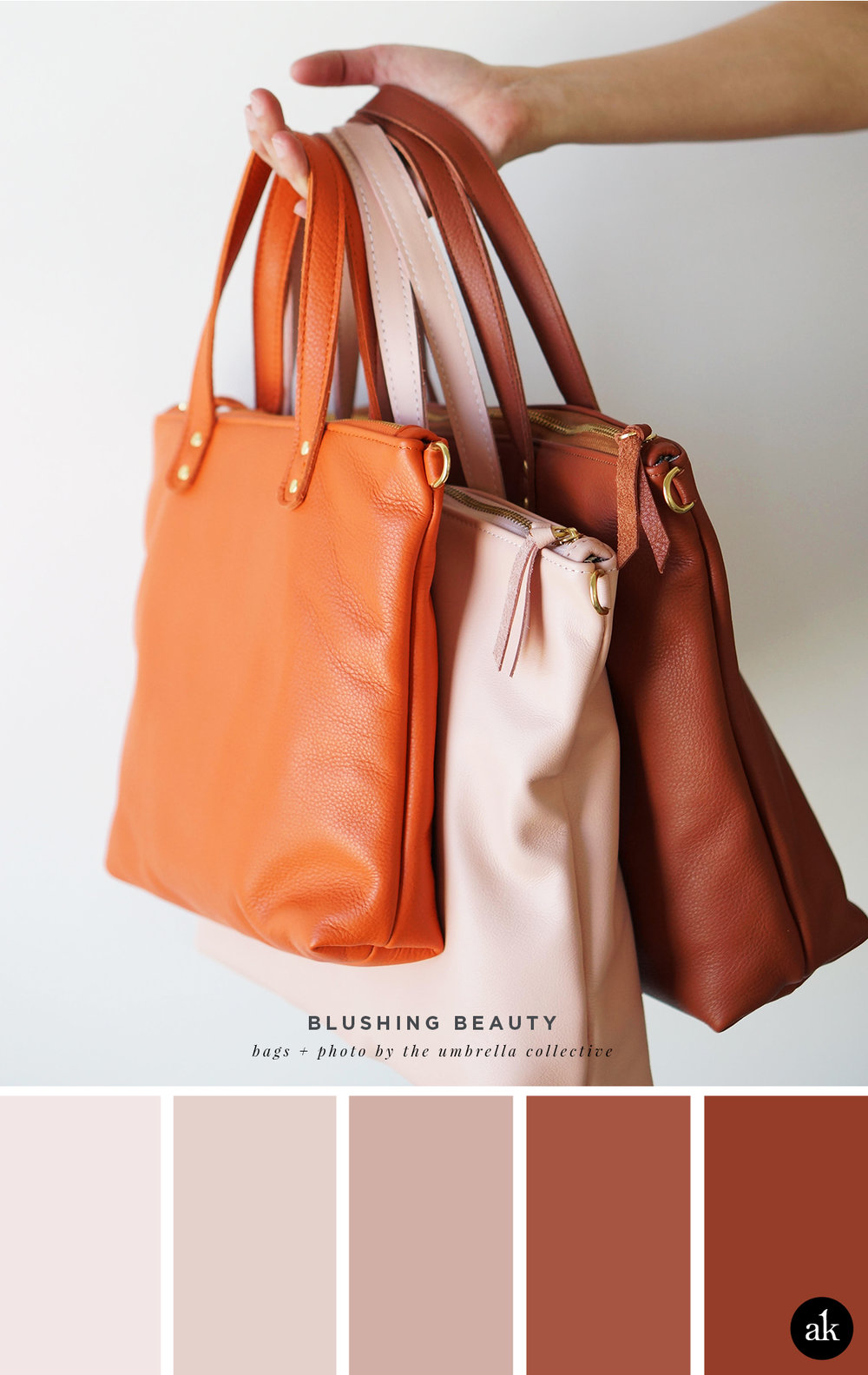 a handmade-handbag-inspired color palette // blush, rust, (tangerine) // handmade leather day bags by The Umbrella Collective