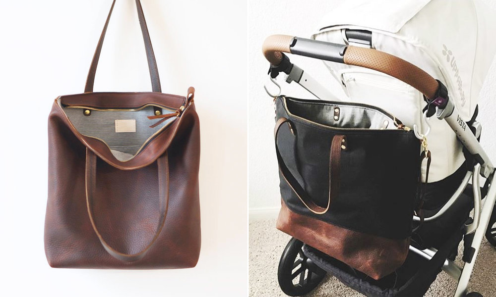 Custom Leather Tote Bags by The Umbrella Collective