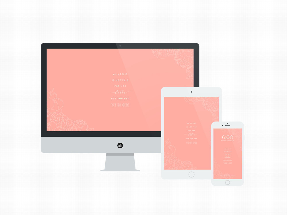 Free Hand Drawn Floral Wallpapers in Coral for Desktop, Tablet, and Phone by Akula Kreative | akulakreative.com