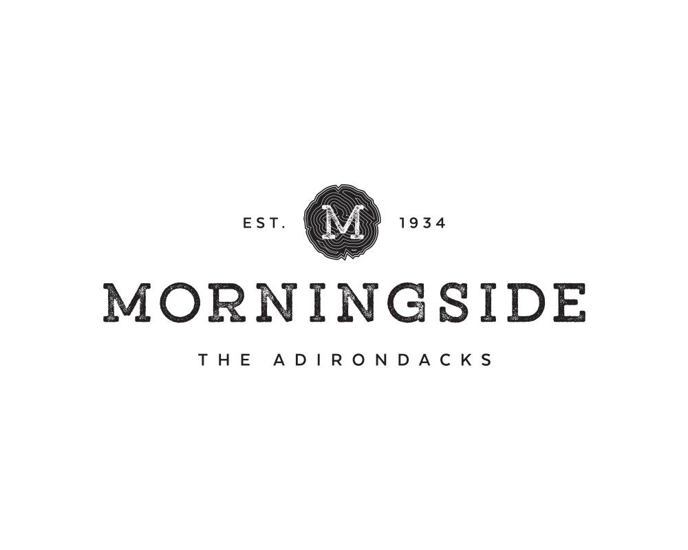 Modern, Textured M Monogram Logo with Wood Slice for Morningside Cabin Rentals | akulakreative.com