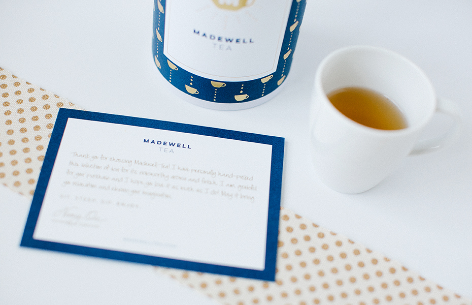 Custom Stationery Card in Navy, Gold, and White for Madewell Tea | akulakreative.com