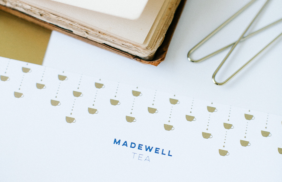 Navy and Gold Luxury Tea Brand Letterhead for Madewell Tea | akulakreative.com