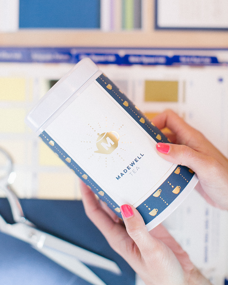 Navy and Gold Foil-Stamped Luxury Tea Brand Business Card for Madewell Tea | akulakreative.com