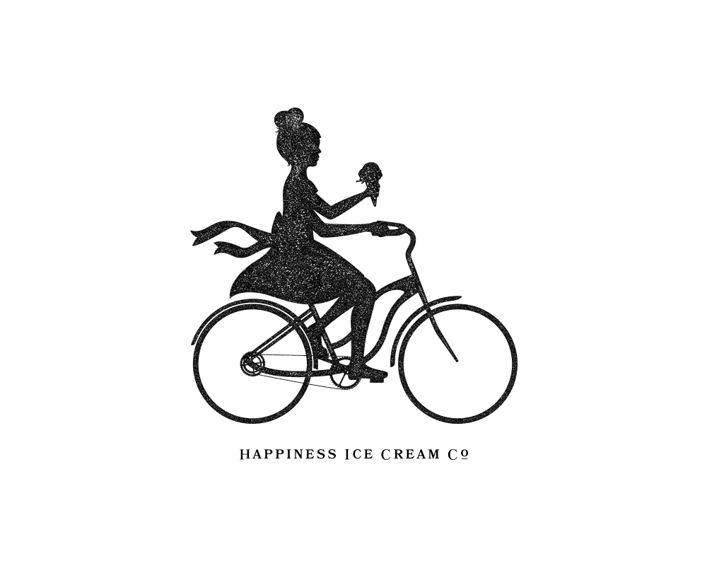 Custom Illustrated Girl Riding Bicycle with Ice Cream Cone for Happiness Ice Cream Co. via Outlaw Creative | akulakreative.com