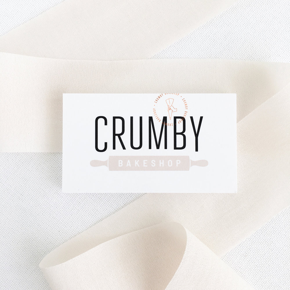 Clean, Modern, Business Card Design for Crumby Bakeshop featuring a Stamped Accent | akulakreative.com