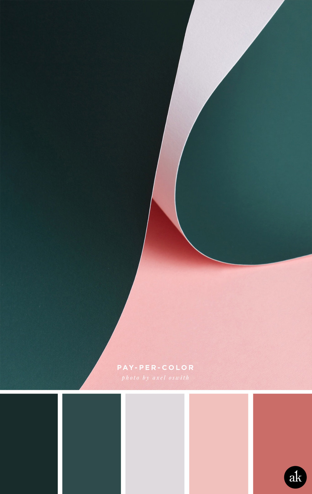 a paper-photograph-inspired color palette // hunter green, gray, dusty pink, antique rose // photo by Axel Oswith