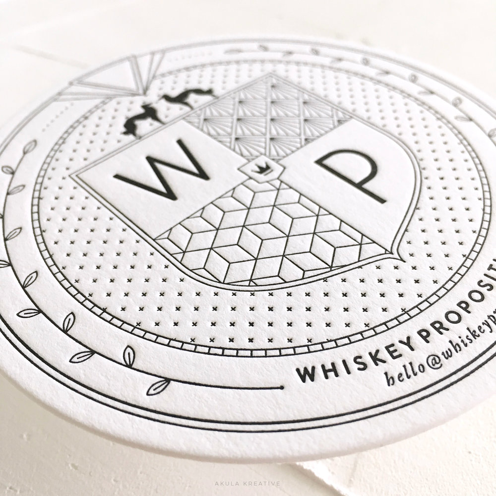Detail of Custom Letterpress Coaster Business Card for Whiskey Proposition by Akula Kreative | 1920s inspired branding | akulakreative.com